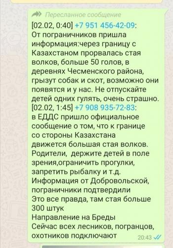 «Словно мухи тут и там ходят слухи по домам…» В соцсетях распространяется «официальное сообщение», что к границе области со стороны Казахстана движется большая стая волков